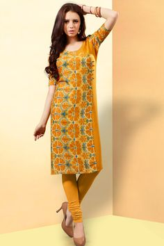 Yellow simple printed reyon casual wear kurti 374