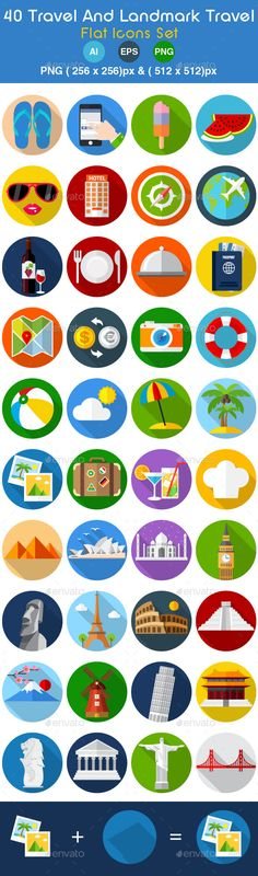 40 Travel & Landmark Travel Flat Icons Set by Ndes This set is 40 flat icons. Perfect for your website,app icon, app,presentation or printPerfect if you want add that whimsical appr