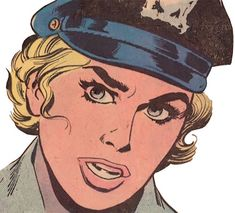 Lady Cop (DC Comics 1st issue special) face closeup. From http://www.writeups.org/lady-cop-warner-dc-comics-first-issue-special/