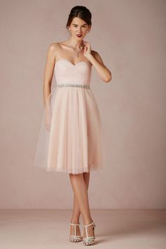 Blush and Neutral Wedding Ideas - Cute blush short strapless bridesmaid dress idea