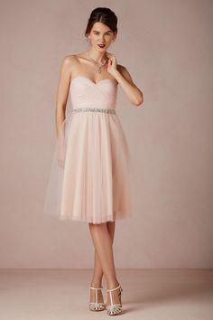 Blush and Neutral Wedding Ideas - Cute blush short strapless bridesmaid dress idea