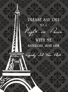 Printable Date Night Invitation -- Date Night Idea - A Night In Paris - At Home -