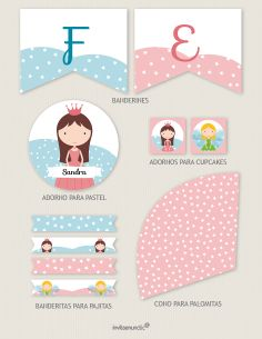 Los imprimibles son gratis y editables. Cada colección incluye adornos para cupcakes, banderitas para pajitas, cono para palomitas, adorno para el pastel y banderín de feliz cumpleaños. Descarga, personaliza e imprime con imprenta casera o láser.   The printables are free and customizable. Each collection includes party circles, straw flags, popcorn cones, cake circle and a birthday banner.  http://www.invitaenunclic.com/en/party-printables/cumpleanos-infantil