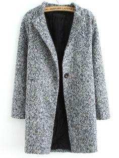 Grey Long Sleeve Single Button Tweed Coat