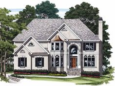 Eplans New American House Plan - Two-Story Family Room - 3693 Square Feet and 5 Bedrooms(s) from Eplans - House Plan Code HWEPL08192