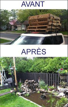 Quoi faire avec palette de bois ? Clôture ! Coût des travaux : 55$ (teinture et vis)