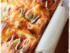 PIZZA ROLL Super Empuk ala Killer Bread Recomended recipe step 10 photo Pizza Rolls, Recipe Steps, Hawaiian Pizza, Cheddar, Vegetable Pizza, Lasagna, Waffles, Bakery, Bread