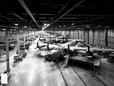 B-24 bombers under construction at Ford Motor Company's Willow Run Factory circa 1941-1945.
