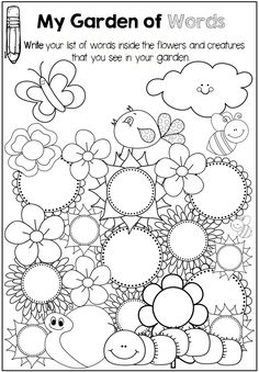 Printables for any Word List . Perfect for sight words, spelling words, vocabulary words and more >>> Sample page - record words inside the flowers and animals. Spelling Activities, Sight Word Activities, Literacy Activities, Literacy Centers, Spelling Games, Writing Centers, Literacy Stations, Preschool Worksheets, Grade Spelling