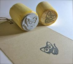 Black Cat Rubber Stamp  Black Kitty Stamp 3/4 or door etchythings, $5.06