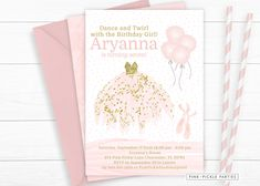 """Do you have a little ballerina birthday girl that is just """"Tutu"""" Cute? Check our new Pink and Gold Ballerina Invitations for her next ballerina party! Tutu Invitations, Kids Birthday Party Invitations, Digital Invitations, Printable Invitations, Baby Shower Invitations, Ballerina Birthday, Girl Birthday, Personalized Thank You Cards, Dinosaur Birthday"""