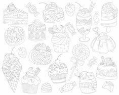 Dessert Doodles Clipart  21 Vector PNG & JPG by KennaSatoDesigns