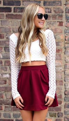 #summer #fashion / lace crop top + red