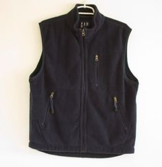 Gap-Sleeveless-Fleece-Vest-Mens-Medium-Navy-Blue-100-Polyester