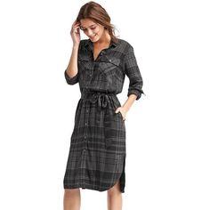 Gap Women Plaid Midi Shirtdress ($80) ❤ liked on Polyvore featuring dresses, navy plaid, tall, plaid dress, long sleeve shirt dress, button front dress, navy blue dress and t-shirt dresses