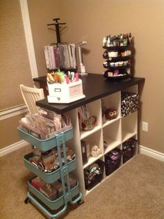 I like this set up for all the storage/organizational pieces - Scrapbook.com