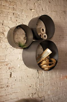 Great circular wall shelves.
