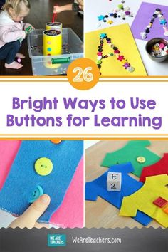 26 Bright Ways to Use Buttons for Learning. Sorting, counting, stacking, and more! There are so many fun button activities for young learners to explore, in the classroom or at home. #learningathome #diy #creativity #art #teaching #teacher #classroomideas #crafts Hands On Activities, Toddler Activities, Learning Activities, Teaching Math, Preschool Centers, Pipe Cleaner Crafts, Diy Buttons, Building For Kids, Sensory Bins