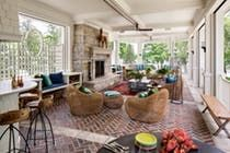Large, sweeping porch wing Outdoor fireplace Lake views  Contemporary  Rustic  American  Architectural Details  Shingle Style  TraditionalNeoclassical  Eclectic  Coastal  Porch  Architectural Detail by Wade Weissmann Architecture Inc
