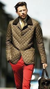 Quilted Jacket mit Cordkragen in Olivgrün