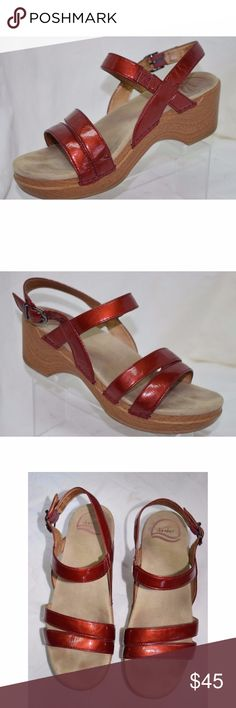 Dansko Red Leather Ankle Strap Sandals Ankle Strap Sandals Red Patent Leather Straps Built-in Elastic sections Buckle Closure  Excellent pre-owned condition. Slight footprint on insoles and small mark on right toe (see pictures) Dansko Shoes Sandals