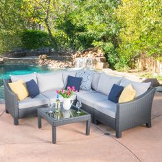 grand resort monterey 5pc sectional set neutral outdoor living