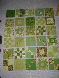 Green Quilt Blocks - love how the blocks differ