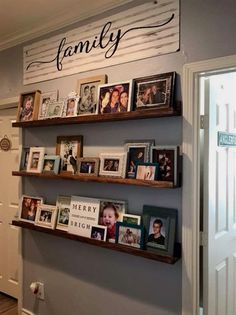 Love this idea so photos can be changed and updated without drilling holes in the wall! #bedroomDecoratingIdeas