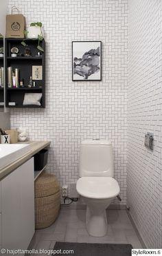 wc,pintaremontti,tapetti,kuviotapetti,wc sisustus