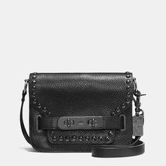 Coach Swagger Small Shoulder Bag in Lacquer Rivets Pebble Leather