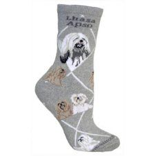Lhasa Apso Socks In Grey UK Size 3.5 to 6.5