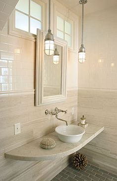 Chic Bathroom....floating counter + tile + pendants