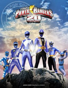 8 x 10 glossy print of a team of legendary Blue Power Rangers, in honor of the 20th anniversary Power Rangers Super Megaforce, and the legendary war.