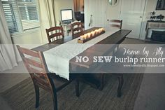 Home by Ally: DIY no sew burlap table runner