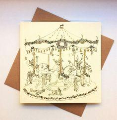 A Christmas Carousel  Christmas card hand by IOillustration