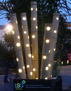 Here are outdoor lighting ideas for your yard to help you create the perfect nighttime entertaining space. outdoor lighting ideas, backyard lighting ideas, frontyard lighting ideas, diy lighting ideas, best for your garden and home Landscape lighting or g Outdoor Garden Decor, Outdoor Gardens, Indoor Outdoor, Bamboo Garden Ideas, Bamboo Ideas, Garden Decorations, Indoor Bamboo, Garden Seating, Rustic Outdoor