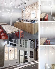The urban/street vibe of this interior really adds to the street food nature of this restaurant. Using bare cables and bulbs alongside raw timber works really well and the addition of a clean work surface to the bar area provides additional texture and a necessary contrast to the space.