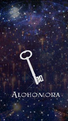 """Alohomora: es una encantamiento de apertuta, permite abrir puertas. También puede abrir puertas cerradas con el conjuto """"colloportus"""""""