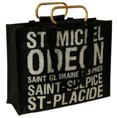 Wedding Favors: Jute Tote Bag with Wood Handle Paris Shops