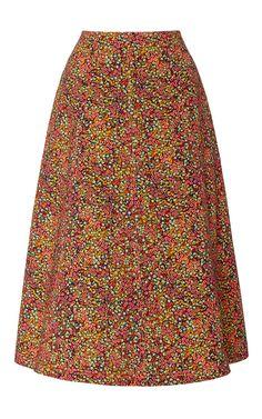 PHILOSOPHY DI LORENZO SERAFINI Printed Cotton Drill A-Line Skirt. #philosophydilorenzoserafini #cloth #skirt