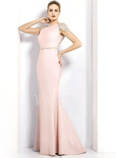 Trumpet/Mermaid Scoop Neck Sweep Train Beading Satin Zipper Up at Side Cap Straps Sleeveless No Pearl Pink Winter Spring Fall General Evening Dress