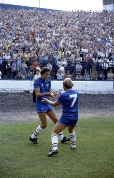 27 August 1983: COLIN LEE (left) and CLIVE WALKER of CHELSEA FC celebrate a goal in Chelsea's 5-0 League Division Two victory over Derby County at at Stamford Bridge...