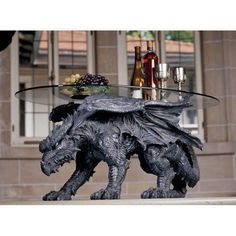 Design Toscano Warwickshire Dragon Gothic Decor Glass Topped Coffee Table, 39 Inch, Polyresin, Grey Stone * You can find out more details at the link of the image. (This is an affiliate link)