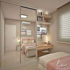 Trendy bedroom ideas for small rooms closet Room Design Bedroom, Girl Bedroom Designs, Home Room Design, Small Room Bedroom, Closet Bedroom, Trendy Bedroom, Bedroom Storage, Diy Bedroom, Bedroom Girls