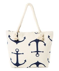 Another great find on #zulily! Canvas & Navy Anchor Tote #zulilyfinds