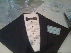 'Black Tie' napkins and menus