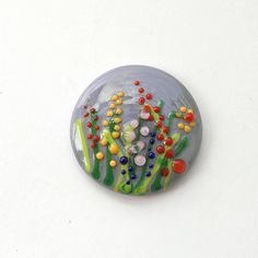 Lavender Blue Glass Cabochon with Flower meadow Lampwork by Eniya, $14.00