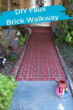 I saw an amazing diy project creating a fake walk way years ago. I love it so much, when it came to redoing our walkway, I knew exactly what to do. Faux Brick is amazing, all the look without the pricetag. Brick Walkway Diy, Brick Edging, Brick Patios, Concrete Patios, Brick Steps, Faux Brick Panels, Brick Paneling, Outdoor Projects, Diy Projects