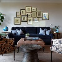Redmond Aldrich Design - living rooms - blue, velvet, sofa, loveseat, clay, beige, tufted, square, ottoman, black, caster, legs, pale, blue,...