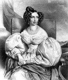 Erzherzog Sophie von Österreich wearing a Biedermeier outfit.